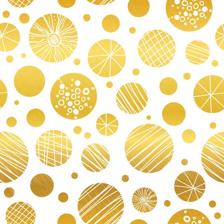 A Vector abstract golden yellow hand drawn christmas ornaments repeated seamless pattern background. Can be used for fabric, wallpaper, stationery, packaging. Illustration