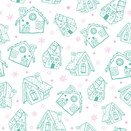 Vector green on white gingerbread houses Christmas seamless pattern background. Perfect for winter holiday fabric, giftwrap, scrapbooking, greeting cards design projects.