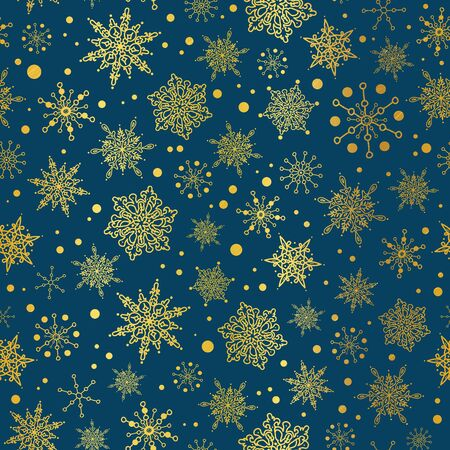 Vector gold and nay blue snowflakes seamless repeat pattern background. Great for winter holiday fabric, giftwrap, packaging, covers, invitations.