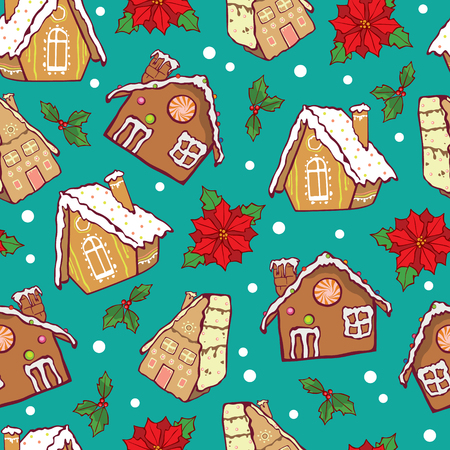 Vector blue and brown gingerbread houses and poinsettia flowers Christmas seamless pattern background. Perfect for winter holiday fabric, giftwrap, scrapbooking. Surface. Illustration
