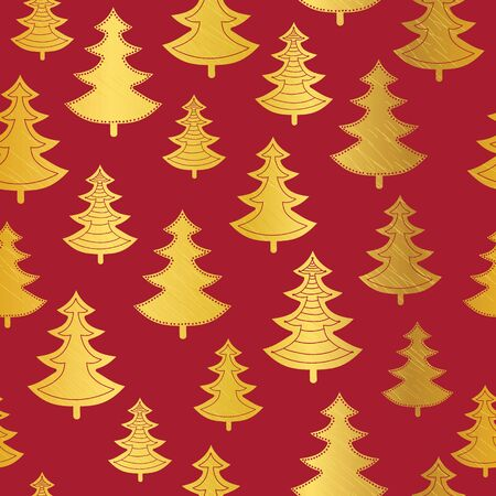 Vecrtor golden and red Christmas trees seamless repeat pattern background. Great for winter holiday fabric, packaging, giftwrap, covers, greeting cards. Surface pattern design. Illustration