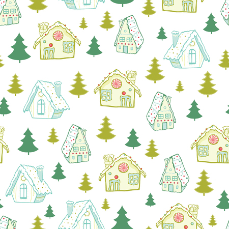 Vector green gingerbread houses and Christmas trees seamless pattern background. Perfect for winter holiday fabric, giftwrap, scrapbooking, greeting cards design projects.