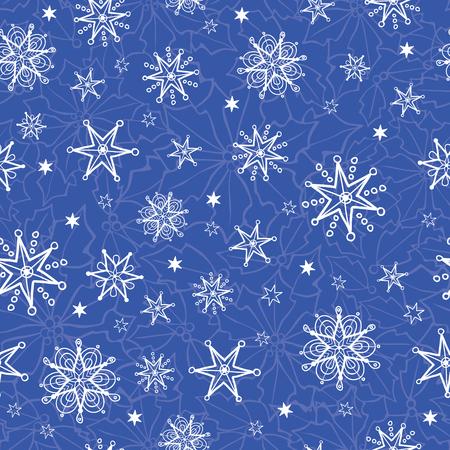 ベクトルホリデーブルーハンド描かれたクリスマス雪片は、シームレスなパターンの背景を繰り返します。生地、壁紙、文房具、包装に使用するこ