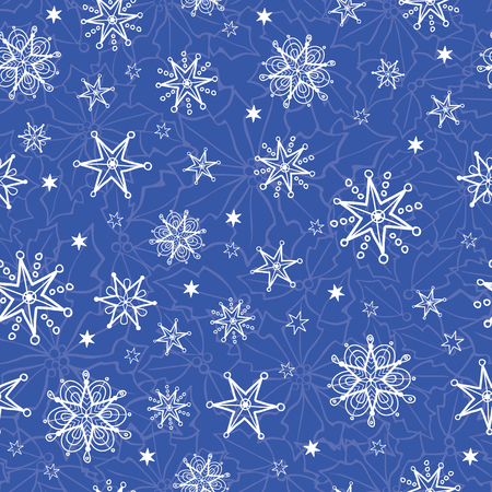 Vector holiday blue hand drawn christmass snowflakes repeat seamless pattern background. Can be used for fabric, wallpaper, stationery, packaging. Surface pattern design.