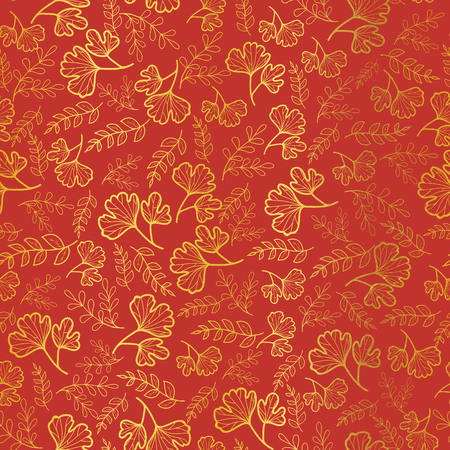Vector golden and orange leaves texture seamless repeat pattern background. Great for fall fabric, wallpaper, giftwrap, scrapbooking projects. Surface pattern design.