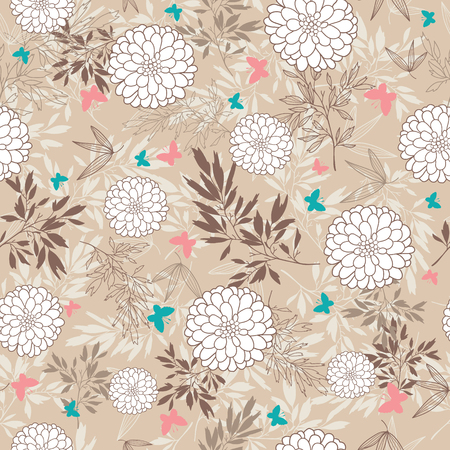 A Vector vintage brown butterflies, leaves and flowers seamless pattern background. Great for fall themed fabric, wallpaper, packaging.