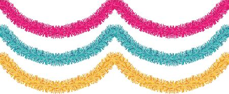 Christmas traditional decorations golden, pink, blue tinsel. Xmas ribbon garland isolated decor element repeating border pattern set. Banco de Imagens - 91502956