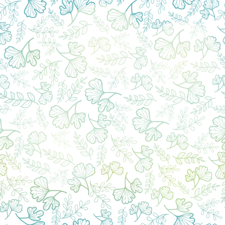 Vector seamless pattern with spring leaves pastel gradient. Background for fabric or book covers, manufacturing, wallpapers, print, gift wrap, scrapbooking.