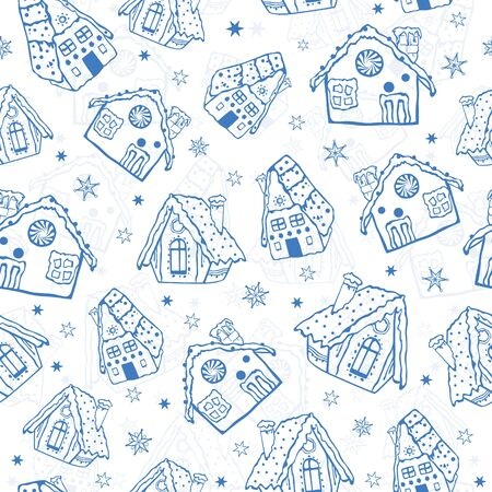 Vector blue gingerbread houses seamless pattern background. Perfect for winter holiday fabric, giftwrap, scrapbooking, greeting cards design projects.