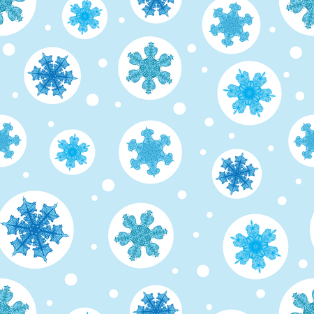 Vector holiday light blue bubbles with christmas snowflakes repeat seamless pattern background. Can be used for fabric, wallpaper, stationery, packaging. Illustration