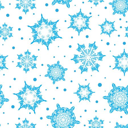 Light blue hand drawn Christmas snowflakes repeat seamless pattern background which can be used for fabric, wallpaper, stationery, packaging, Surface pattern design.