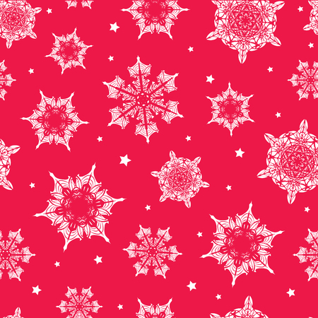 Vector holiday vibrant red hand drawn christmas snowflakes repeat seamless pattern background. Can be used for fabric, wallpaper, stationery, packaging.