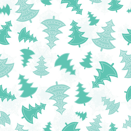 Vector green scattered christmas trees forest holiday seamless pattern. Great for winter holiday fabric, wallpaper, packaging, giftwrap.