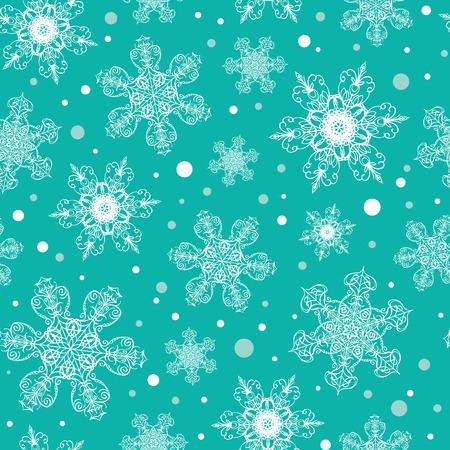 ベクトルホリデーエメラルドグリーンの手描きクリスマス雪片は、シームレスなパターンの背景を繰り返します。生地、壁紙、文房具、包装に使用