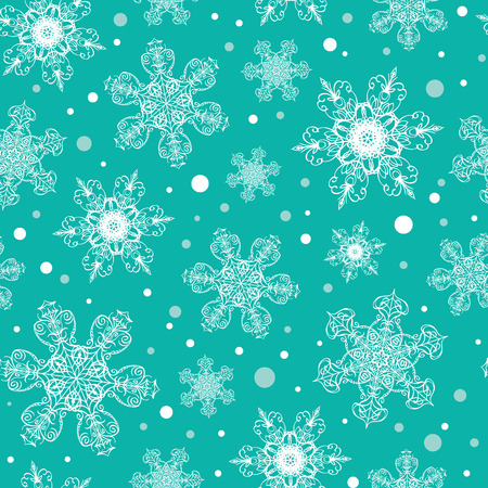 Vector holiday emerald green hand drawn Christmas snowflakes repeat seamless pattern background. Can be used for fabric, wallpaper, stationery, packaging.