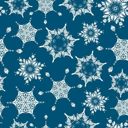 ベクトルホリデーネイビーブルーの手描きクリスマス雪片は、シームレスなパターンの背景を繰り返します。生地、壁紙、文房具、包装に使用する
