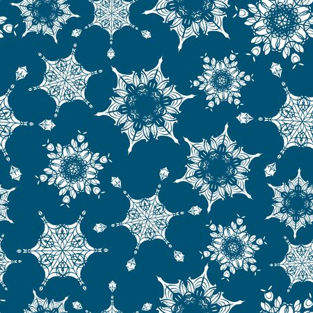 Vector holiday navy blue hand drawn Christmas snowflakes repeat seamless pattern background. Can be used for fabric, wallpaper, stationery, packaging. Illustration