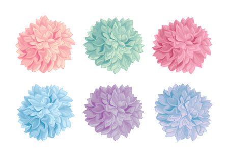 Vector Set of Pastel Colorful Birthday Party Paper Pom Poms. Great for handmade cards, invitations, wallpaper, packaging, nursery designs. Illustration