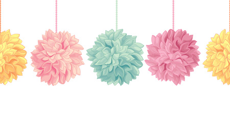 Vector Hanging Pastel Colorful Birthday Party Paper Pom Poms Set Horizontal Seamless Repeat Border Pattern. Great for handmade cards, invitations, wallpaper, packaging, nursery designs. Party decor.