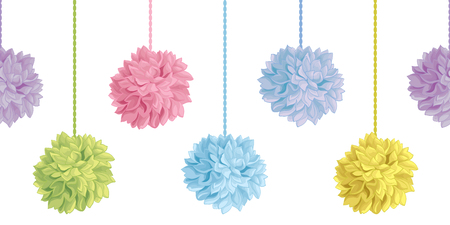 Vector Up Down Hanging Pastel Colorful Birthday Party Paper Pom Poms Set Horizontal Seamless Repeat Border Pattern. Great for handmade cards, invitations, wallpaper, packaging, nursery designs. Vectores