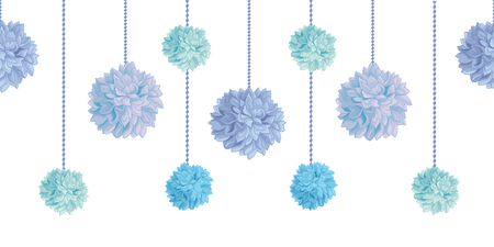 Vector Dangling Blue Bay Boy Birthday Party Paper Pom Poms Set Horizontal Seamless Repeat Border Pattern. Great for handmade cards, invitations, wallpaper, packaging, nursery designs.
