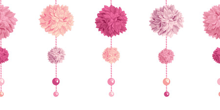 Vector Dangling Pink Birthday Party Paper Pom Poms and Beads Set Horizontal Seamless Repeat Border Pattern. Great for handmade cards, invitations, wallpaper, packaging, nursery designs.