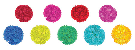 Set of fun colorful birthday party paper pom poms. great for handmade cards, invitations, wallpaper, packaging, nursery designs. Illustration