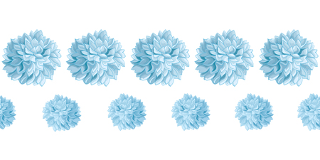 Vector Set of Light Blue Baby Boy Birthday Party Paper Pom Poms Set Horizontal Seamless Repeat Border Pattern. Great for handmade cards, invitations, wallpaper, packaging, nursery designs. Illustration