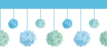 Hanging Blue Birthday Party Paper Pom Poms Set