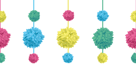 Hanging Colorful Birthday Party Paper Pom Poms Set Illustration