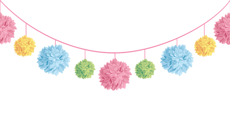 Colorful hanging birthday party paper pom poms.