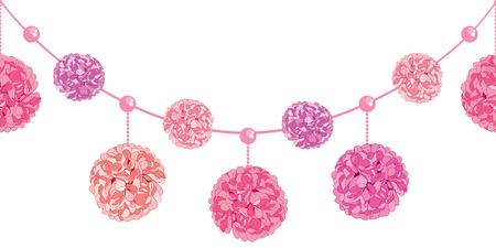 Dangling Pink Birthday Party Paper Pom Poms and Beads