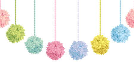 Hanging Pastel Colorful Birthday Party Paper Pom Poms Set