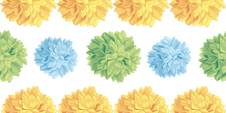 Cute Pastel Yellow, Blue, Green Birthday Party Paper Pom Poms Set Horizontal Seamless Repeat Border Pattern. Great for handmade cards, invitations. Party decor.