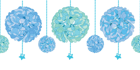 Vector Set of Hanging Blue Bay Boy Birthday Party Paper Pom Poms and Beads Set Horizontal Seamless Repeat Border Pattern. Great for handmade cards, invitations, wallpaper, packaging, nursery designs.