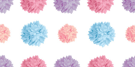Vector Fun Pastel Colorful Birthday Party Paper Pom Poms Set Horizontal Seamless Repeat Border Pattern. Great for handmade cards, invitations. Party decor. Illustration