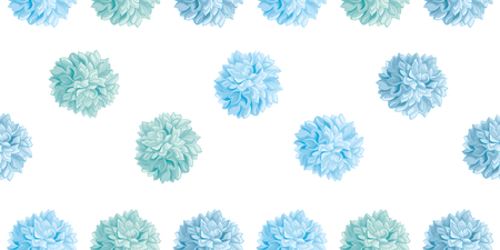 Vector Cute Pastel Blue Birthday Party Paper Pom Poms Set Horizontal Seamless Repeat Border Pattern. Great for handmade cards, invitations, wallpaper, packaging, nursery designs.