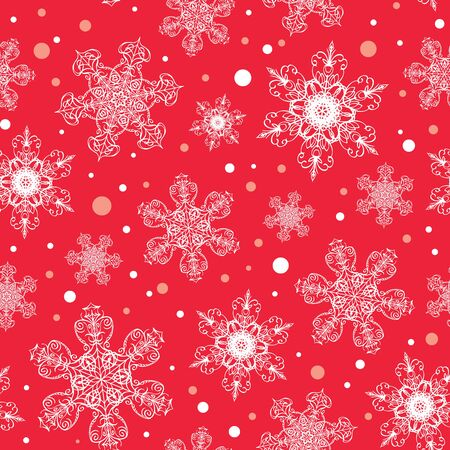 Vector holiday white red hand drawn Christmas snowflakes repeat seamless pattern background. Can be used for fabric, wallpaper, stationery, packaging.