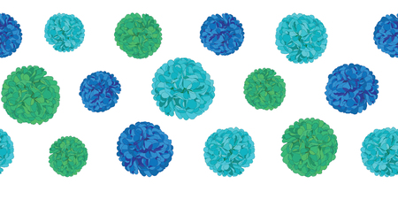 Vector Blue Birthday Party Paper Pom Poms Set Horizontal Seamless Repeat Border Pattern. Great for handmade cards, invitations, wallpaper, packaging, nursery designs. Illustration
