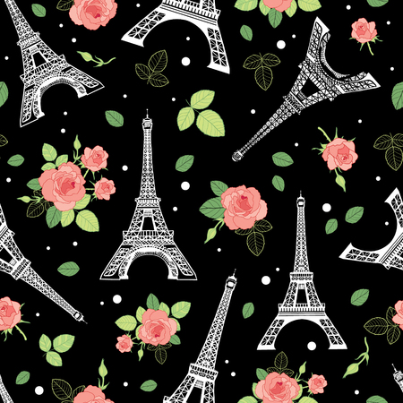 Vector Black Pink Eifel Tower Paris and Roses Flowers Seamless Repeat Pattern Surrounded By St Valentines Day Hearts Of Love. Perfect for travel themed postcards, greeting cards, wedding invitations. Illustration
