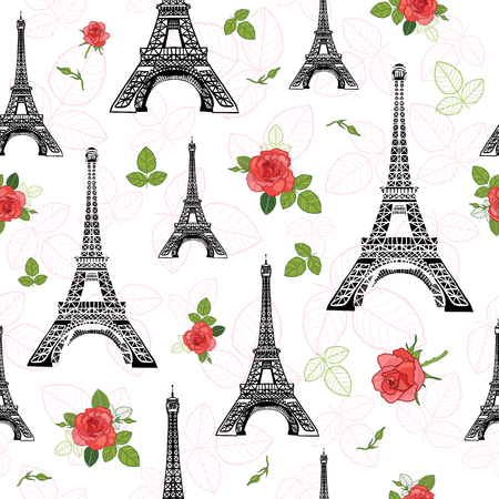 Vector Black Red Eifel Tower Paris and Roses Flowers Seamless Repeat Pattern Surrounded By St Valentines Day Hearts Of Love. Perfect for travel themed postcards, greeting cards, wedding invitations.