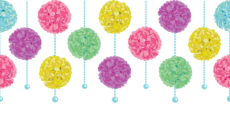 Vector Party Set of Hanging Pastel Colorful Birthday Party Paper Pom Poms and Beads Horizontal Seamless Repeat Border Pattern. Great for handmade cards, invitations, wallpaper, packaging, nursery designs.