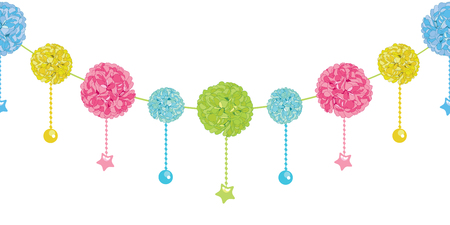 Vector Fun Set of Hanging Pastel Colorful Birthday Party Paper Pom Poms and Stars Horizontal Seamless Repeat Border Pattern. Great for handmade cards, invitations, wallpaper, packaging, nursery designs.