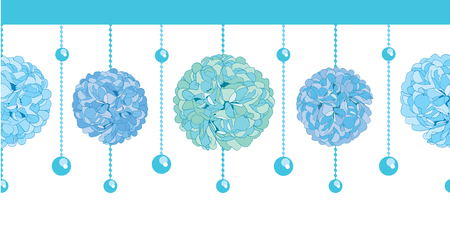 Vector Set of Blue Bay Boy Birthday Party Paper Pom Poms and Beads Set Horizontal Seamless Repeat Border Pattern. Great for handmade cards, invitations, wallpaper, packaging, nursery designs. Party decor.