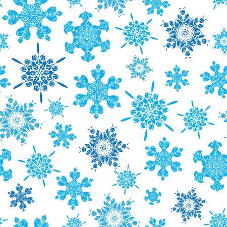 ベクトルライトブルーの手描きのクリスマス雪片は、シームレスなパターンの背景を繰り返します。生地、壁紙、文房具、包装に使用することがで