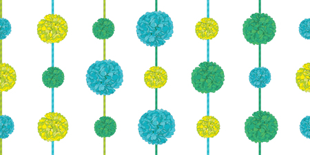 Vector Matching Green Birthday Party Paper Pom Poms Set On Strings Horizontal Seamless Repeat Border Pattern. Great for handmade cards, invitations, wallpaper, packaging, nursery designs. Vector decor. Vettoriali