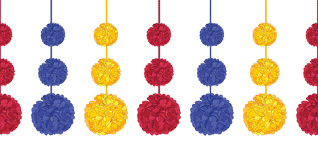 Vector aColorful Birthday Party Paper Pom Poms Set On Strings Horizontal Seamless Repeat Border Pattern. Great for handmade cards, invitations, wallpaper, packaging, nursery designs.