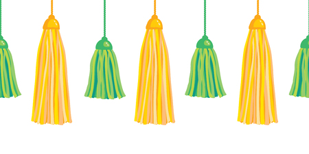Green yellow vector hanging decorative tassels set with ropes horizontal seamless repeat border pattern. Great for handmade cards, invitations, wallpaper, packaging, nursery designs. Illustration