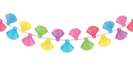 Glands décoratifs de vecteur coloré définir le modèle de bordure horizontale répétée sans soudure. Idéal pour les cartes faites à la main, les invitations, le papier peint, les emballages, les conceptions de pépinière. Vecteurs