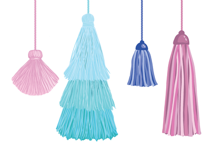 Set of fun decorative tassels hanging from strings. Great for handmade cards, invitations, wallpaper, packaging, nursery designs.